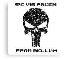 The Punisher Skull Black Distressed with Quote Marvel Fan Art Canvas Print