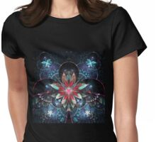 Red and Blue Flowers - Abstract Fractal Artwork Womens Fitted T-Shirt