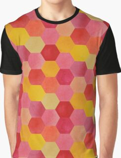 Pink and Yellow Hexagons Graphic T-Shirt