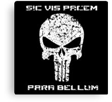 The Punisher Skull White Distressed with Quote Marvel Fanart Canvas Print