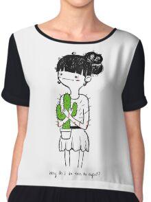 Cactus Hug by Sarah Pinc Chiffon Top