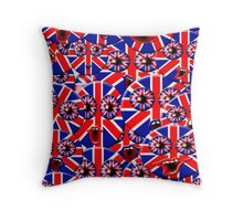 over crowded british smileys Throw Pillow