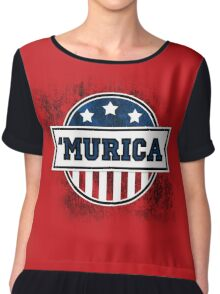 'MURICA T-Shirt. America. Jesus. Freedom. - The Campaign Chiffon Top