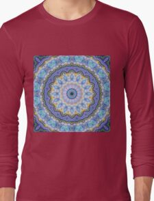 Blue Mandala - Abstract Fractal Artwork Long Sleeve T-Shirt
