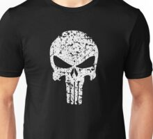 The Punisher Skull Distress White Marvel Fanart Unisex T-Shirt
