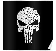 The Punisher Skull Distress White Marvel Fanart Poster
