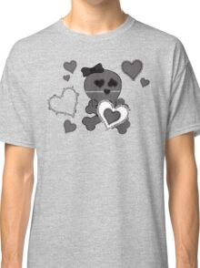 Skull Heart Design Black Lace Classic T-Shirt