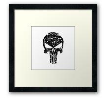 The Punisher Skull Black Distress Marvvel Fanart Framed Print