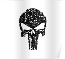 The Punisher Skull Black Distress Marvvel Fanart Poster