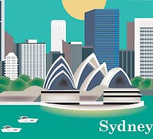 Sydney, Australia - Retro Styled Horizontal Skyline Illustration by Loose Petals by Loose  Petals