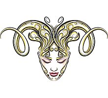 Girl with horns of a ram drawn in tattoo style Photographic Print