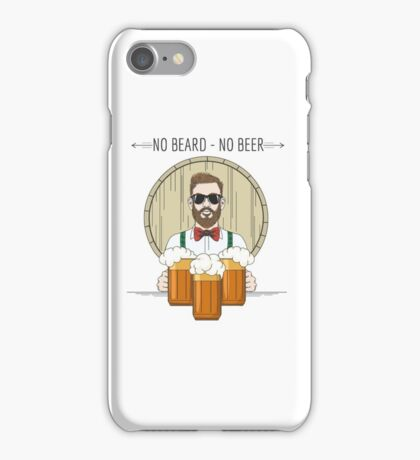Hipster Beer Illustration with moto No beard no beer iPhone Case/Skin