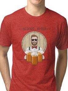 Hipster Beer Illustration with moto No beard no beer Tri-blend T-Shirt