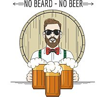 Hipster Beer Illustration with moto No beard no beer Photographic Print