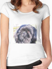 Cute shih tzu head Women's Fitted Scoop T-Shirt
