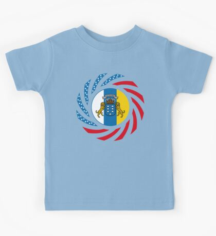 Canarian American Multinational Patriot Flag Series Kids Tee
