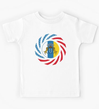 Canarian American Multinational Patriot Flag Series Kids Tee