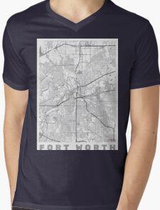 Fort Worth Map Line Mens V-Neck T-Shirt