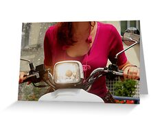 Woman on a scooter Greeting Card