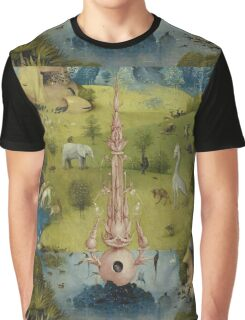 Hieronymus Bosch - The Garden Of Earthly Delights Art Fragment Painting: eden, hell, beauty, adam, retro animals, birds, cool love, trendy gift, celebration, vintage monster, doodle, birthday, fantasy Graphic T-Shirt