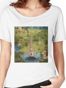 Hieronymus Bosch - The Garden Of Earthly Delights Art Fragment Painting: eden, hell, beauty, adam, retro animals, birds, cool love, trendy gift, celebration, vintage monster, doodle, birthday, fantasy Women's Relaxed Fit T-Shirt