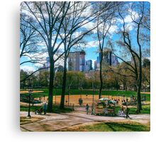 Baseball in the city Canvas Print
