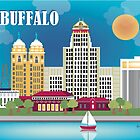 Buffalo, New York - Horizontal Retro Themed Illustration by Loose Petals by Loose  Petals