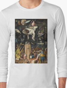 Hieronymus Bosch - The Garden Of Earthly Delights Art Fragment Painting: eden, hell, beauty, adam, retro animals, birds, cool love, trendy gift, celebration, vintage monster, doodle, birthday, fantasy Long Sleeve T-Shirt