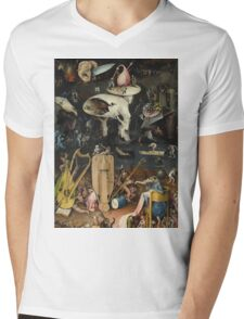 Hieronymus Bosch - The Garden Of Earthly Delights Art Fragment Painting: eden, hell, beauty, adam, retro animals, birds, cool love, trendy gift, celebration, vintage monster, doodle, birthday, fantasy Mens V-Neck T-Shirt