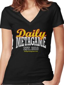 Daily Metagame Sport Red Stroke Women's Fitted V-Neck T-Shirt