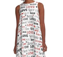 Too Cute Studio Love Typography in Red and Black A-Line Dress