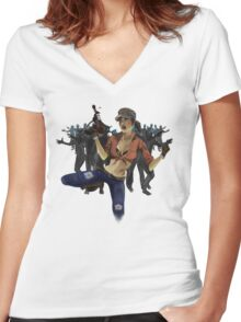 Zombie Killer Pin Up Women's Fitted V-Neck T-Shirt