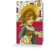 Cute Victorian Christmas Child With Dog Greeting Card