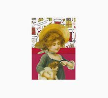 Cute Victorian Christmas Child With Dog Unisex T-Shirt