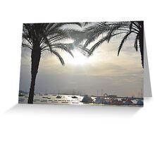 Sunset Amongst Palm Trees Greeting Card