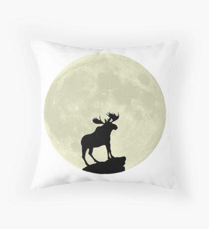 Midnight Moose Throw Pillow
