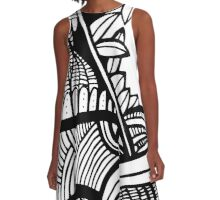 abstract ink design A-Line Dress