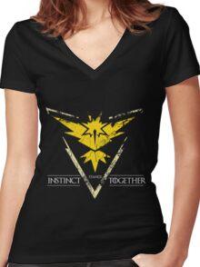 Team Instinct Stands Together(PokeGO! + GoT) Women's Fitted V-Neck T-Shirt