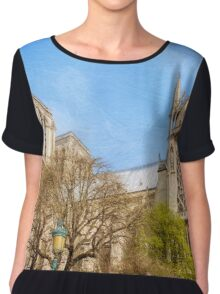 Notre Dame South Facade and Rose Window Chiffon Top