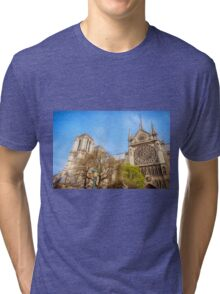 Notre Dame South Facade and Rose Window Tri-blend T-Shirt