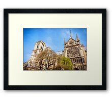 Notre Dame South Facade and Rose Window Framed Print