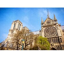 Notre Dame South Facade and Rose Window Photographic Print