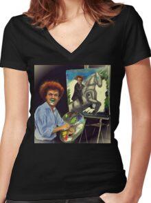 Steve Brule paints Women's Fitted V-Neck T-Shirt