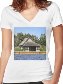 Horsey mere thatched cottage Women's Fitted V-Neck T-Shirt