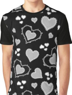 Skull Heart Pattern - Coordinate Black Graphic T-Shirt