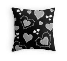 Skull Heart Pattern - Coordinate Black Throw Pillow