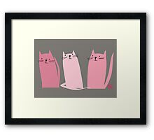 Three Little Pink Cats Framed Print