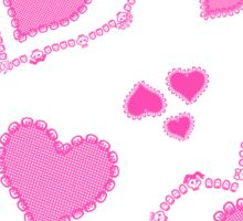 Skull Heart Pattern - Coordinate Pink Hot Sticker
