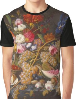 Severin Roesen - Still Life With Fruit 1850. Still life with fruits and vegetables: strawberries , champagne,, lemon , grapes , cherries, peaches, apples, pears, apricots, raspberries, vase Graphic T-Shirt
