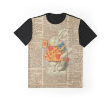 White Rabbit with Trumpet,Alice in Wonderland,Vintage Dictionary Book Page Art Graphic T-Shirt